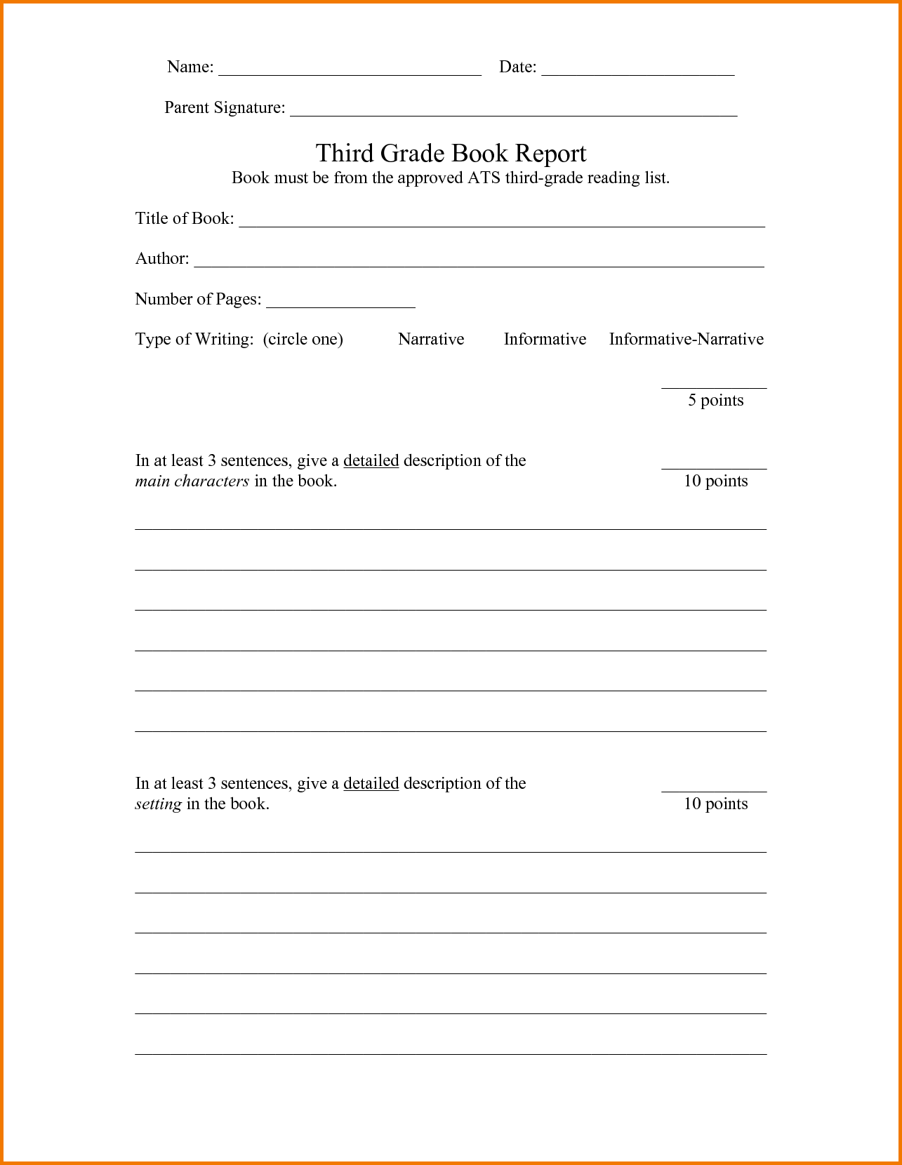 Detailed Expense Report Template and 6 Third Grade Book Report Template Expense Report