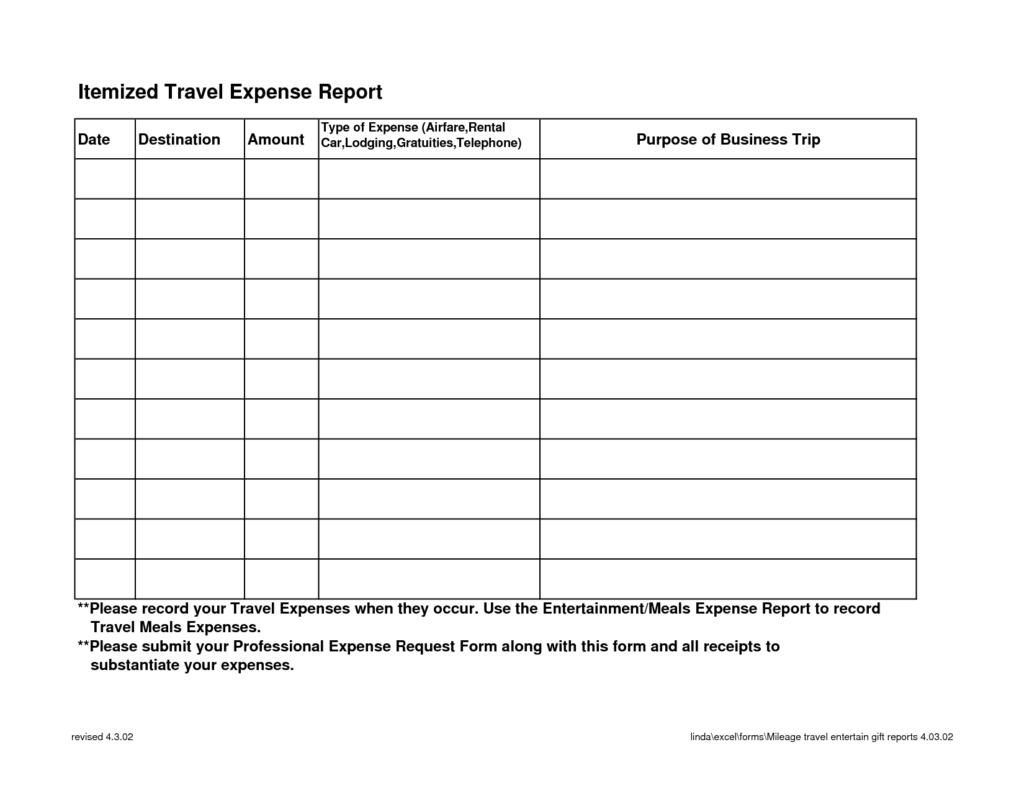 Detailed Expense Report Template and Itemized Travel Expense Report Template Sample Helloalive