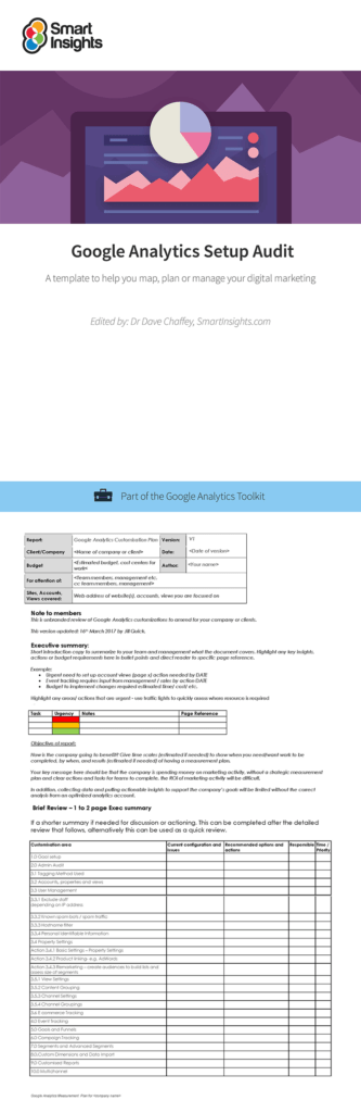 Digital Marketing Report Template and Google Analytics Setup Audit Smart Insights Digital Marketing Advice