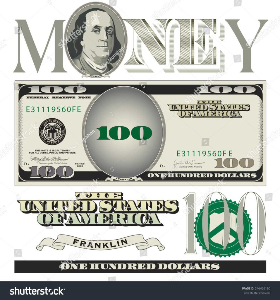 Dollar Bill Coupon Template and Miscellaneous 100 Dollar Bill Elements Stock Vector