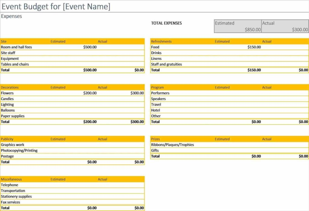 Downloadable Budget Worksheets and event Bud Template Walltemplates123