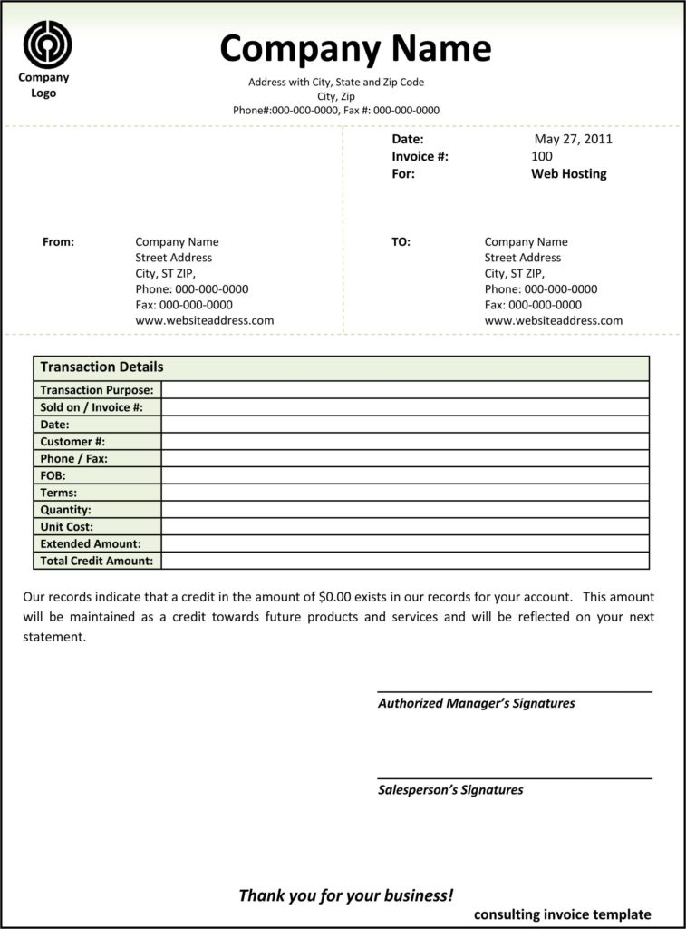 Downloadable Invoice Template and Consulting Invoice Template Word Invoice Example
