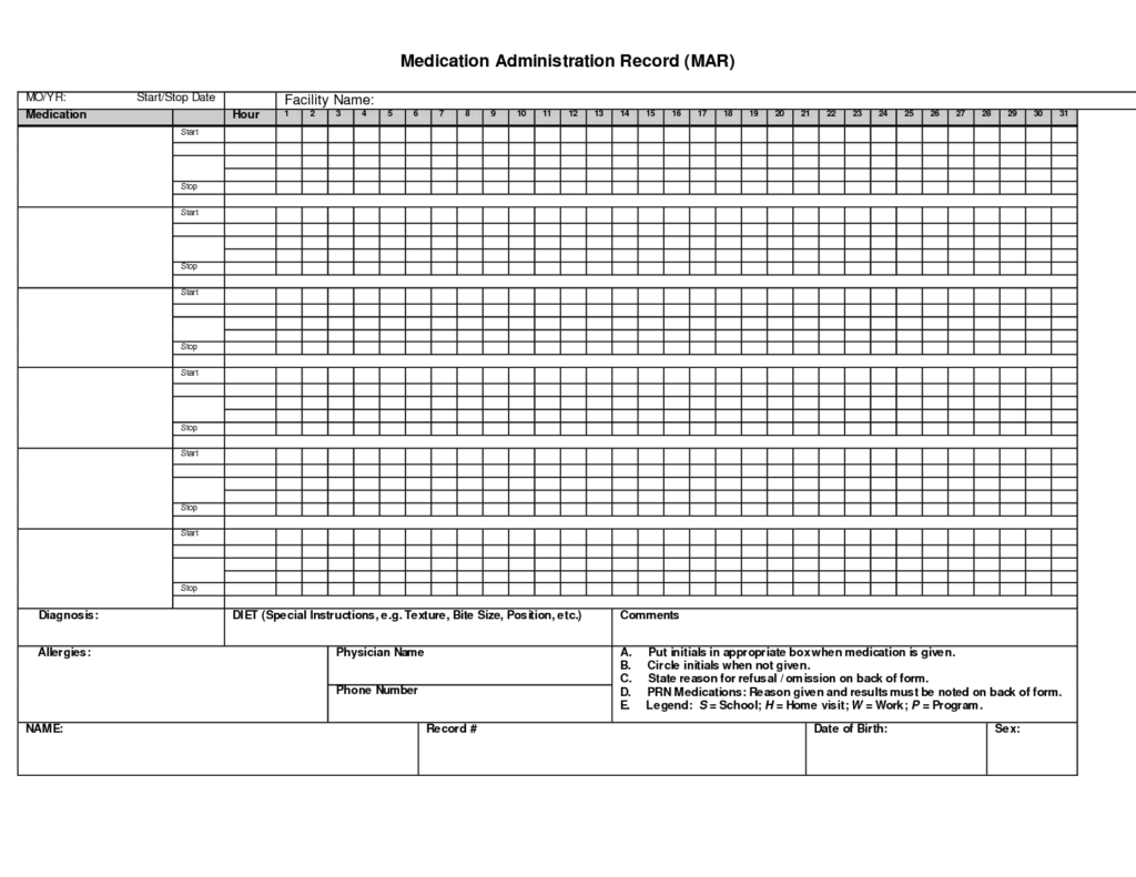 Dr Office Sign In Sheet Template and Administration Record Printable Medication Chart Office