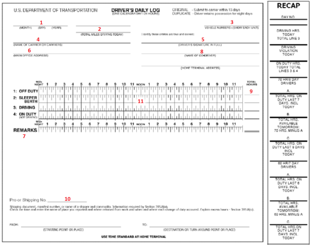 Driver Daily Log Sheet Template and Part 395 Sample Log Book with Color Notations