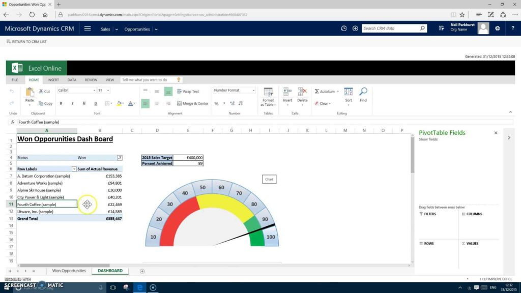 Dynamic Dashboard Template In Excel and Demo Crm 2016 Excel Templates Youtube