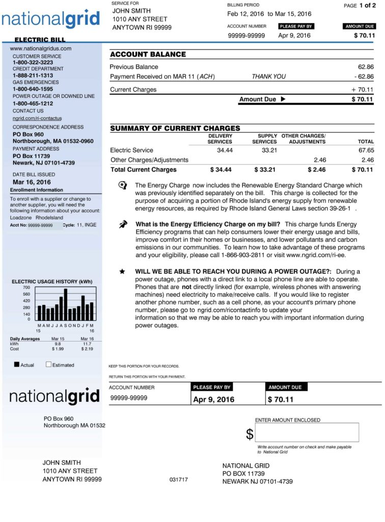 Electricity Bill Template and Understanding Our Bills and Charges National Grid