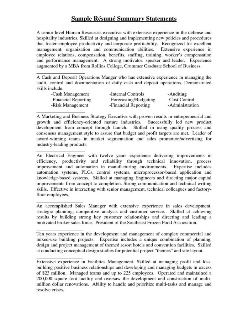 Employee Benefit Statement Template and Examples Of Resume Summary