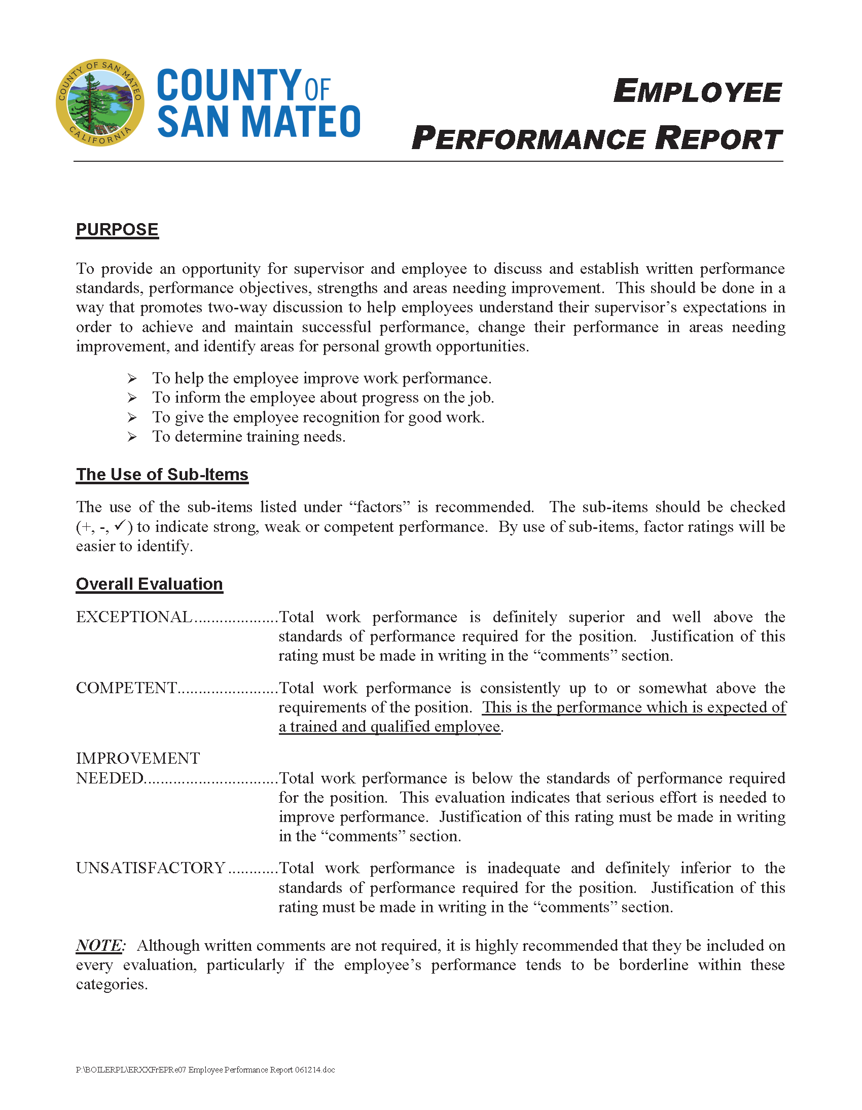 Employee Performance Evaluation Report Sample and Sample Employee Performance Report Employee Labor Relations