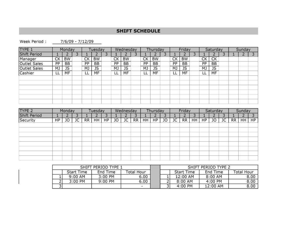 Employee Shift Scheduling Spreadsheet and Employee Shift Schedule Template
