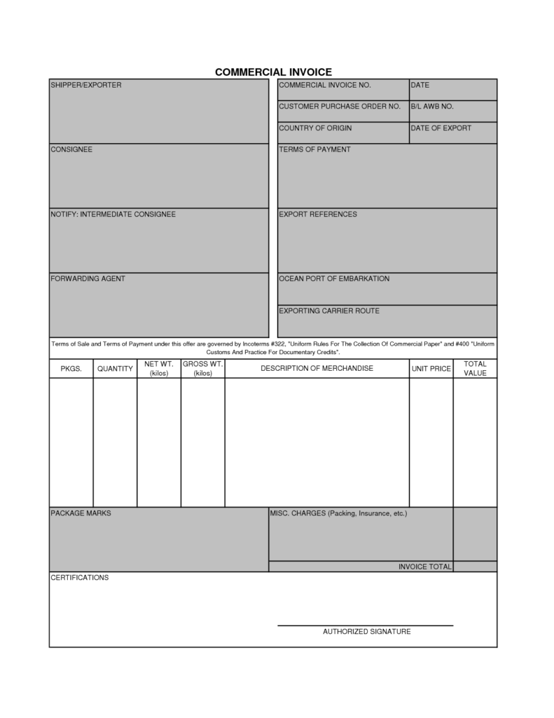 Empty Invoice Template and 11 Mercial Invoice Templates Free Documents In Word