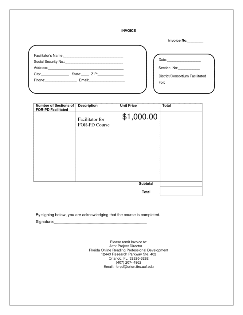 Empty Invoice Template and Blank Service Invoice Blankinvoice