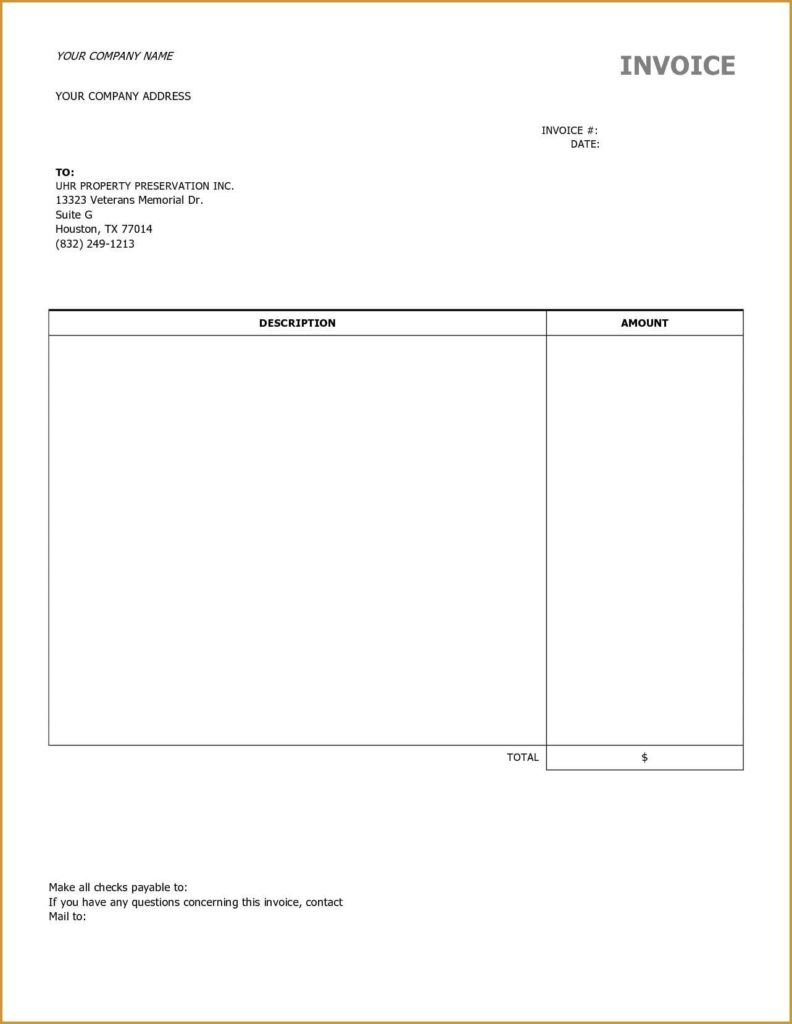 Empty Invoice Template and Invoice Template Blank Invoice Template Ideas