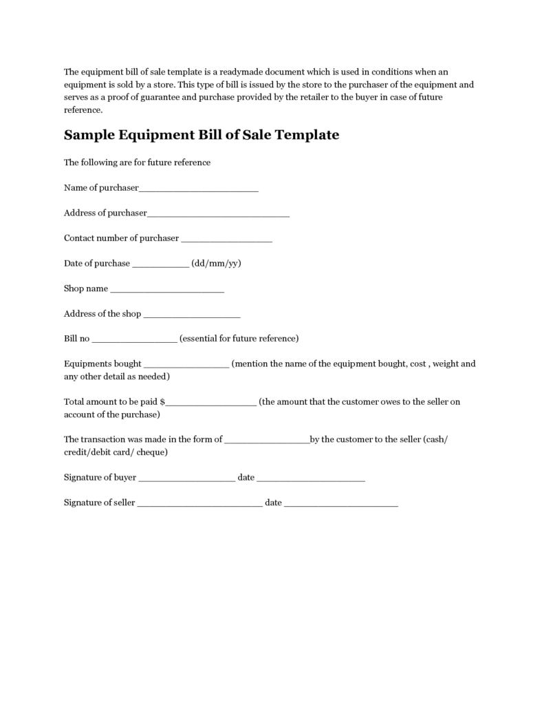 Equipment Bill Of Sale Template Free and Printable Sample Equipment Bill Of Sale Template form Laywers