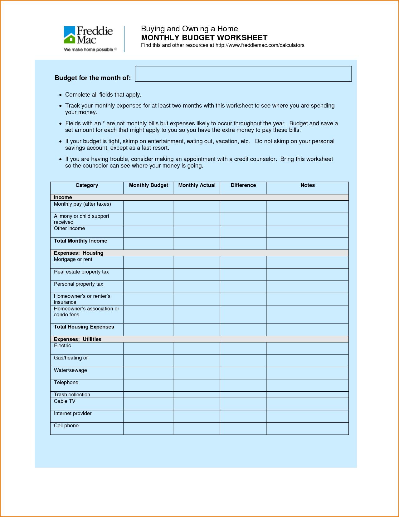 Estate Planning Worksheet and 12 Household Bud Worksheet Bibliography format