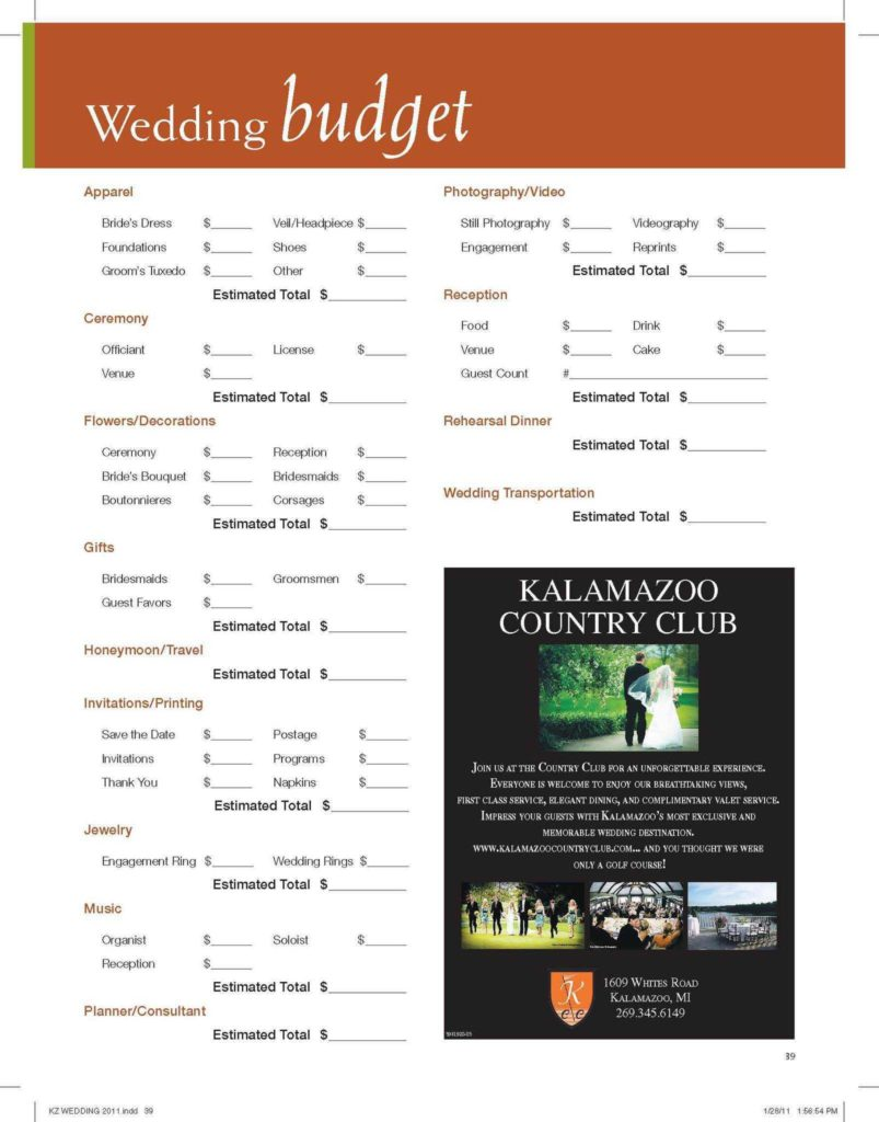 Estate Planning Worksheet and Use Our Wedding Bud Worksheet to assist You In Planning for