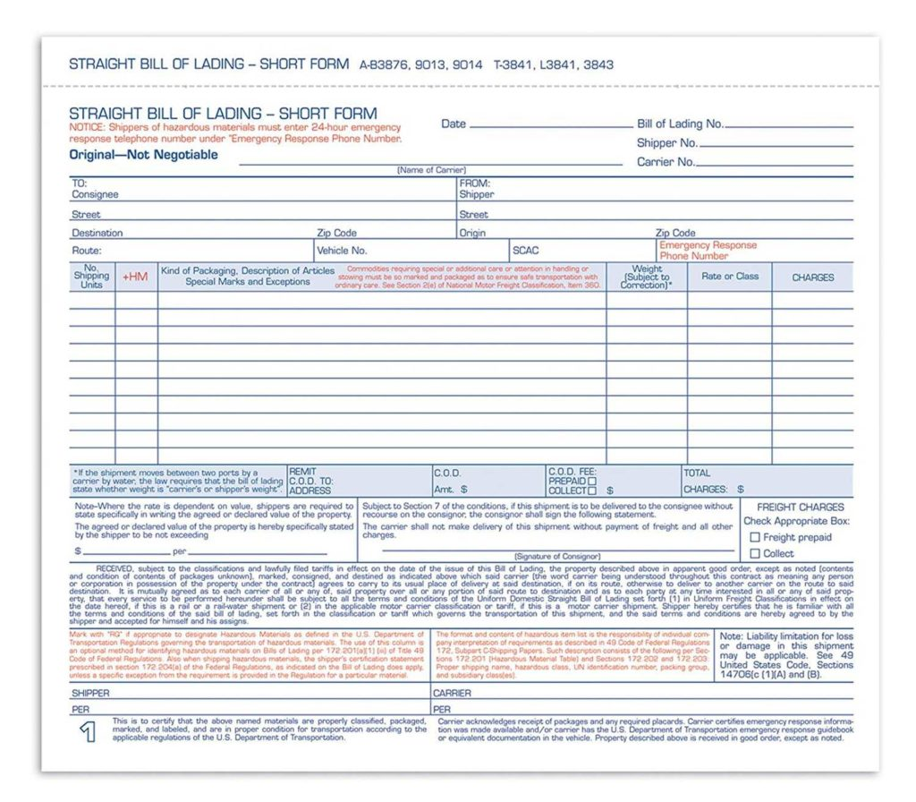 Even Trade Bill Of Sale Template and Adams Bill Of Lading Short form 8 1 2 X 7 7 16