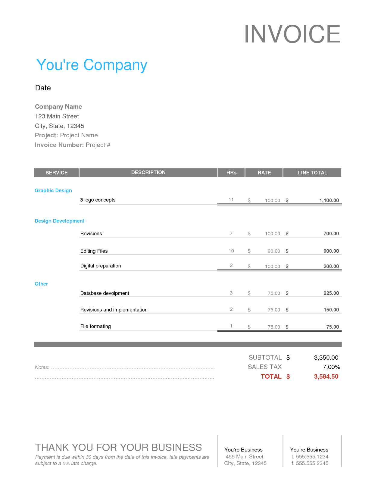 Event Planning Invoice Template and Graphic Design Invoice Template Free Business Template