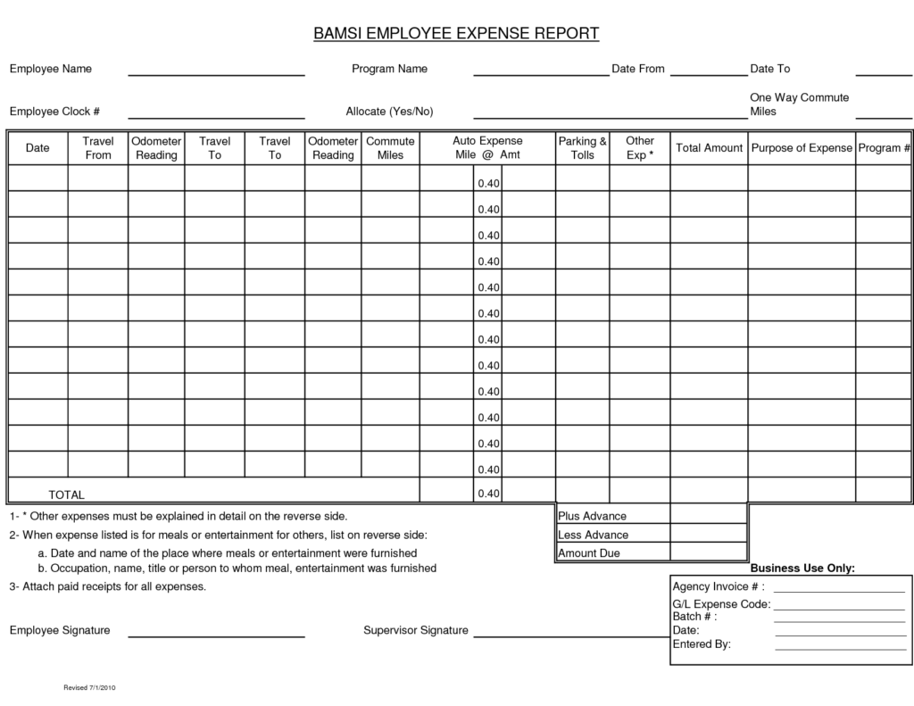 Example Of An Expense Report and Blank Expense Report Helloalive