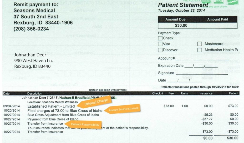 Example Of Billing Statement and Medical Bill Example Seasons Medical