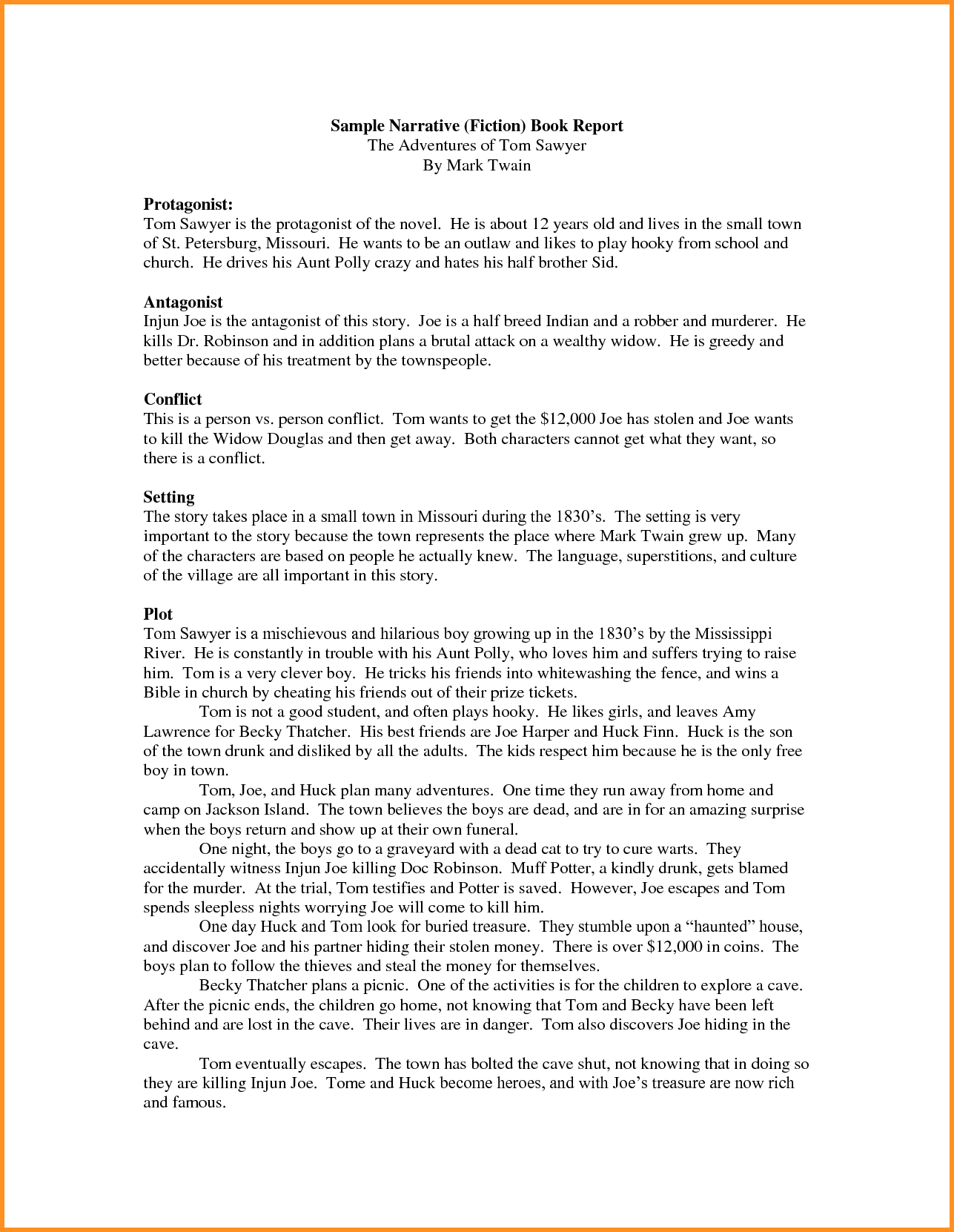 Example Of Book Report Story and 12 Sample Of Book Report Cook Resume