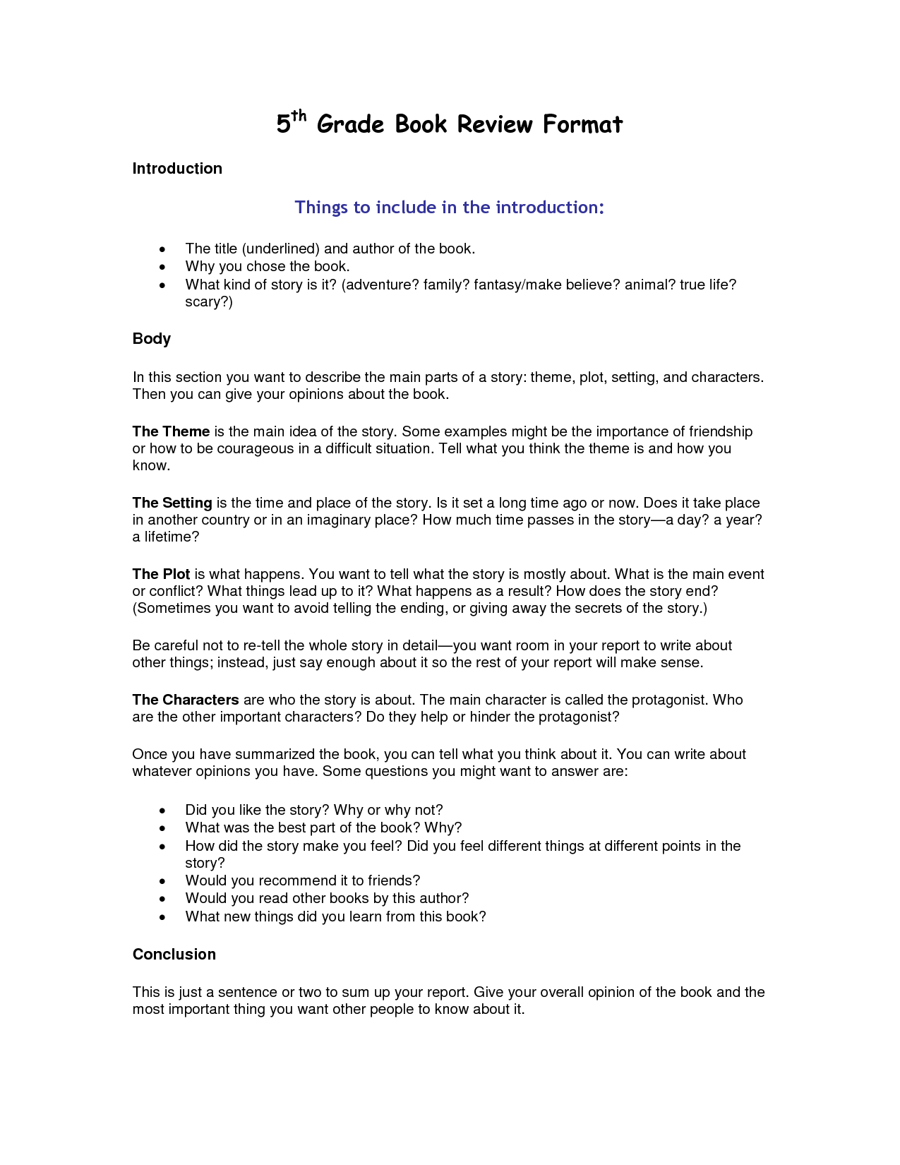Example Of Book Report Story and Examples Of Book Report forms