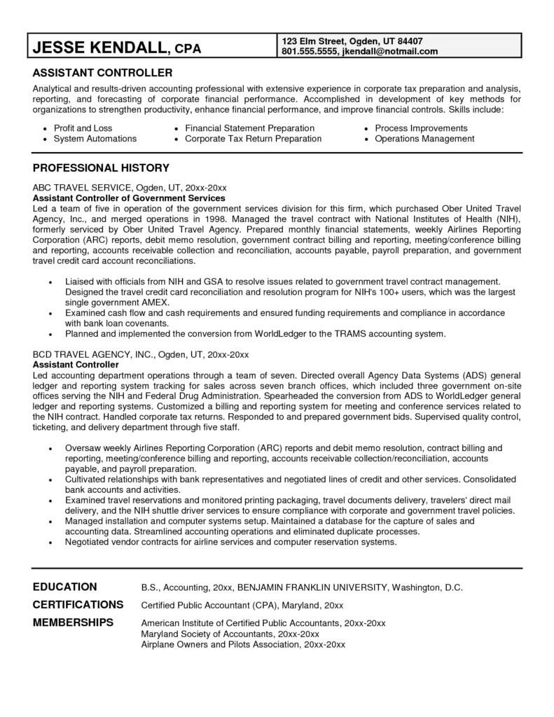 Example Of Credit Report and Controller Resume Sample Resume for Your Job Application