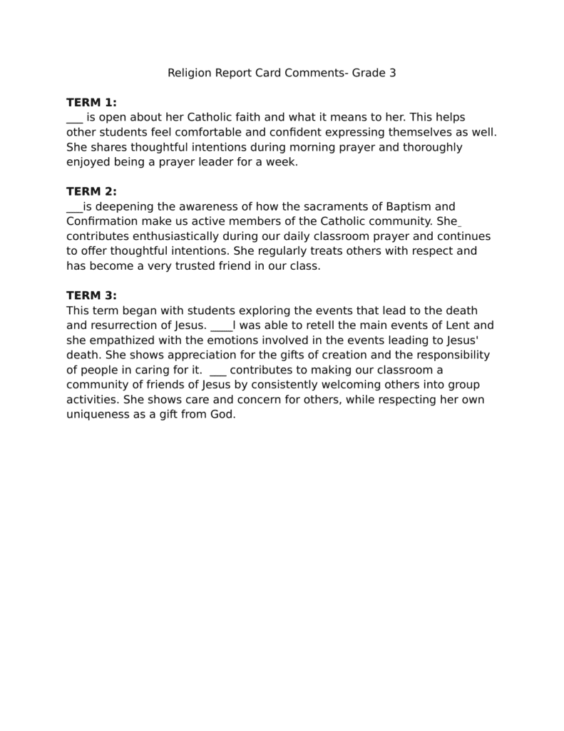 Example Of Parents Comments On Report Card and Religion Report Card Ments Resource Preview Report Card