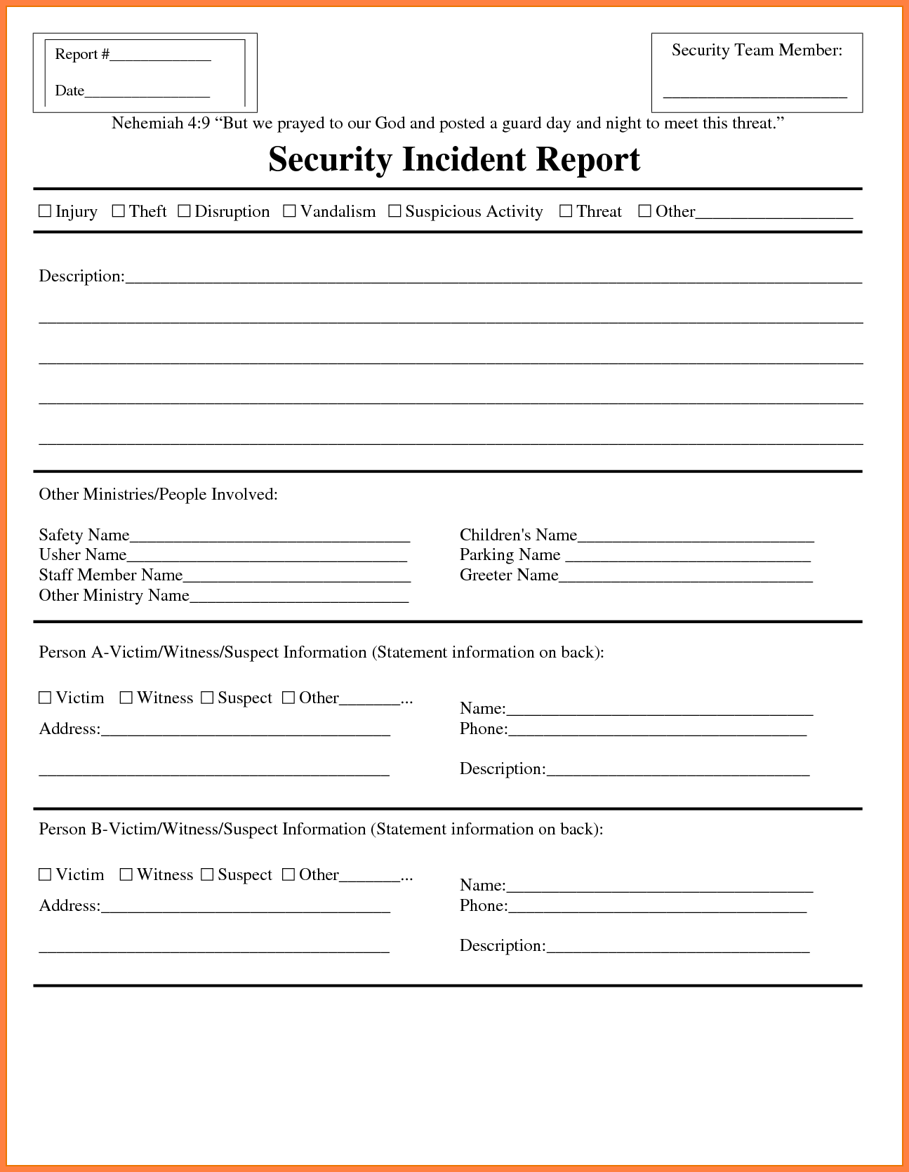Example Of Security Incident Report and 7 Security Incident Report Template Invoice Example 2017