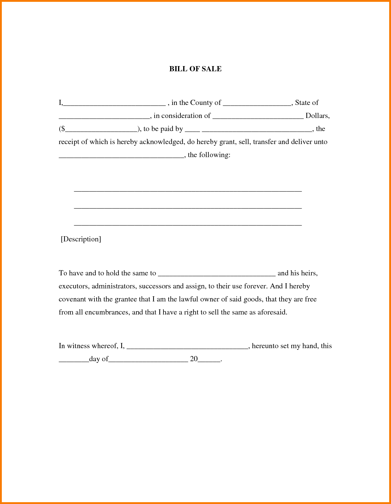 Examples Of Bill Of Sales and 5 Example Of A Bill Of Sale Receipt Templates