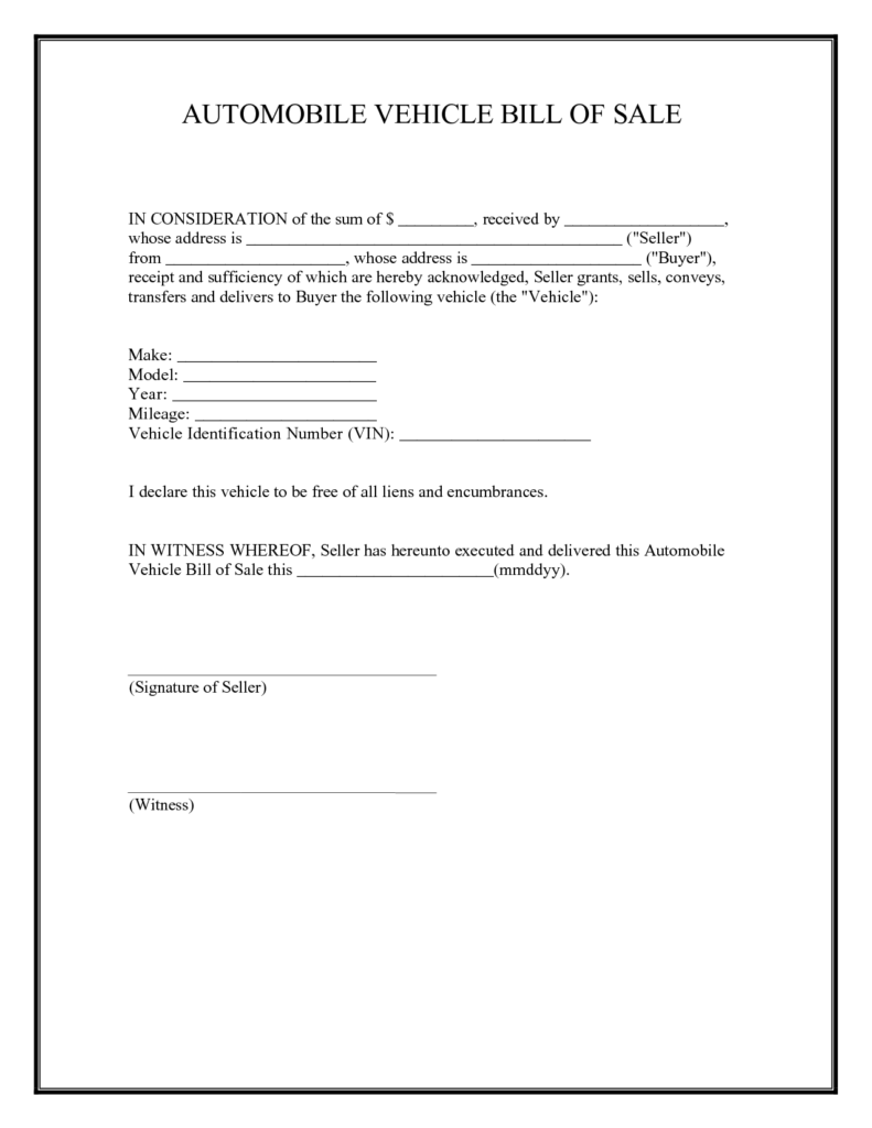 Examples Of Bill Of Sales and Free Printable Car Bill Of Sale form Generic