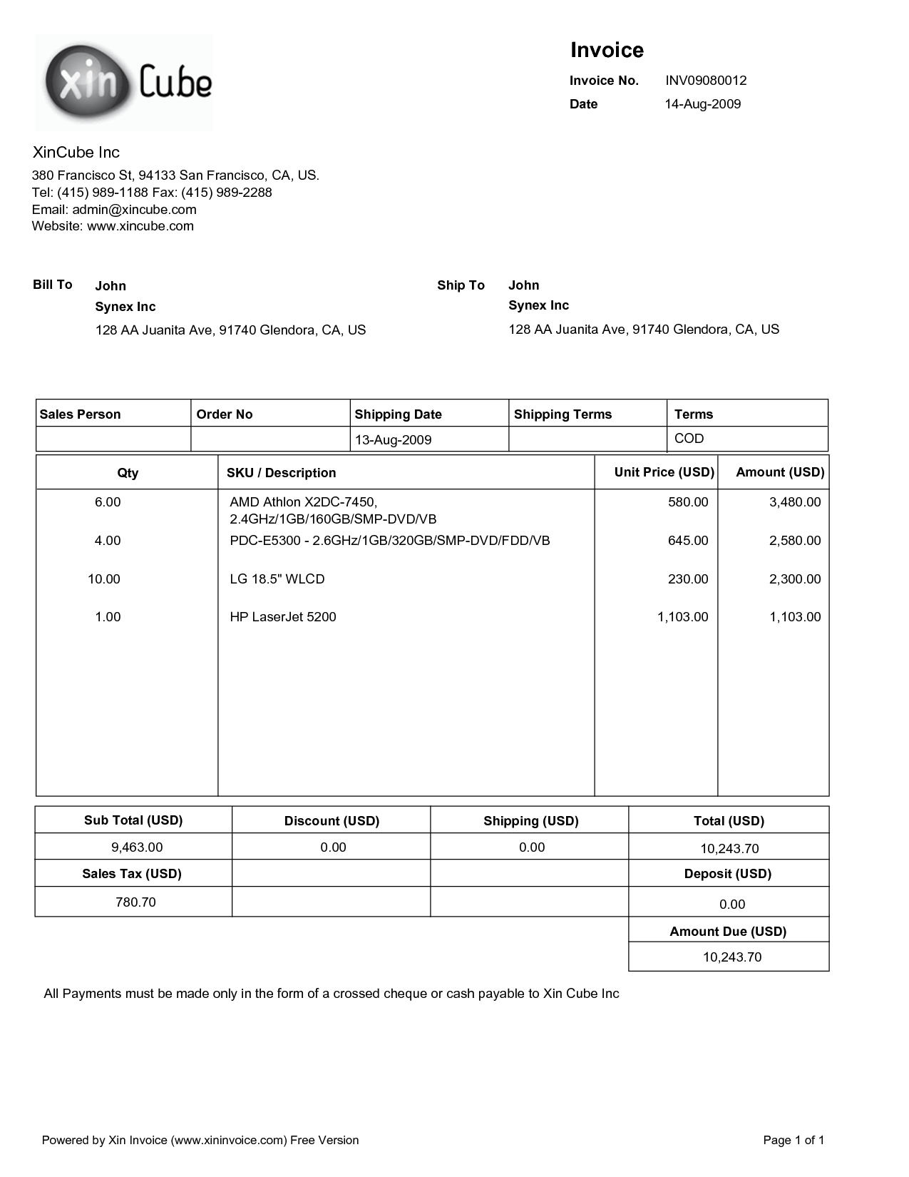 Examples Of Invoice Templates and Invoice Template Pdf Free Free to Do List