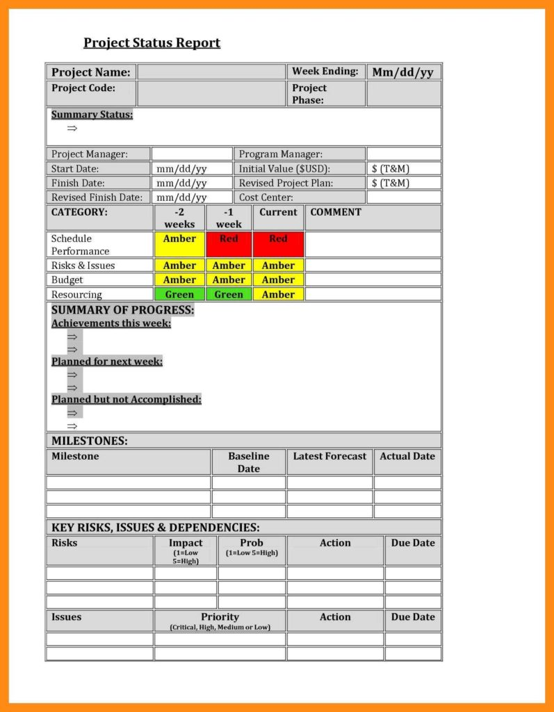 Excel Reports Examples and Sample Status Reports Lead Animator Cover Letter This I Believe