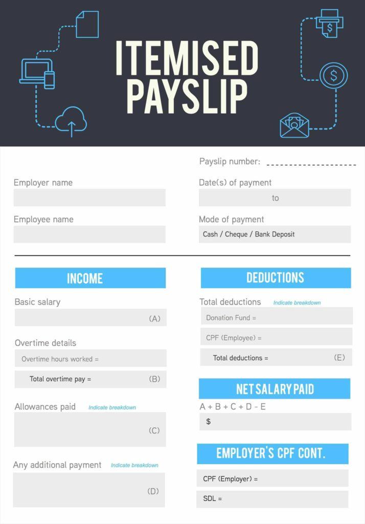 Excel Spreadsheet for Payroll and Payslip Payroll Slip Template Excel Excel Template Templates