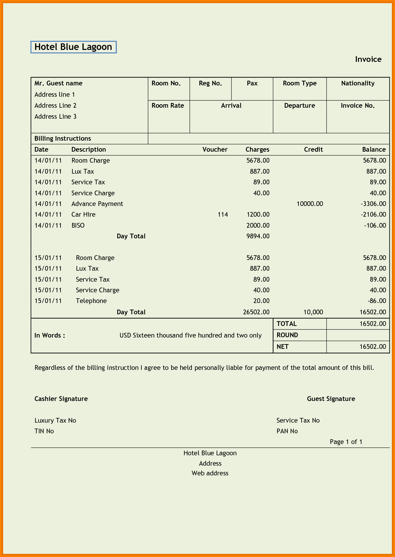 Excel Template for Bills and 9 Hotel Bill In Excel format Simple Bill