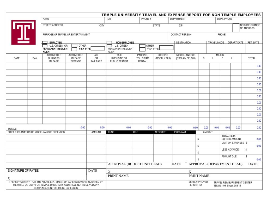 Expense Reports Templates and 40 Expense Report Templates to Help You Save Money Template Lab