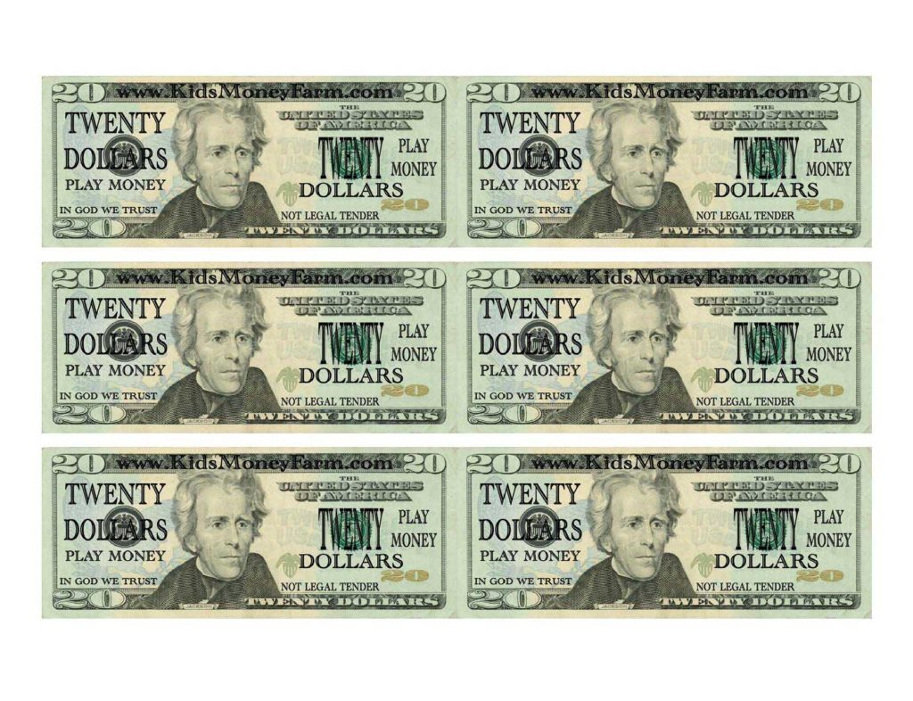 Fake $100 Bill Template and 8 Best Images Of Printable Play Money 20 Play Printable Fake