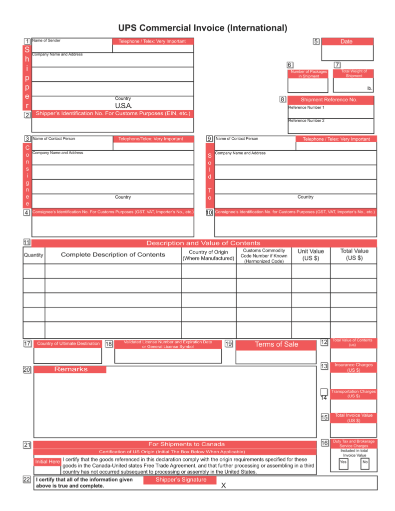 Fillable Invoice Template Pdf and Free Ups Mercial Invoice Template Excel Pdf Word C