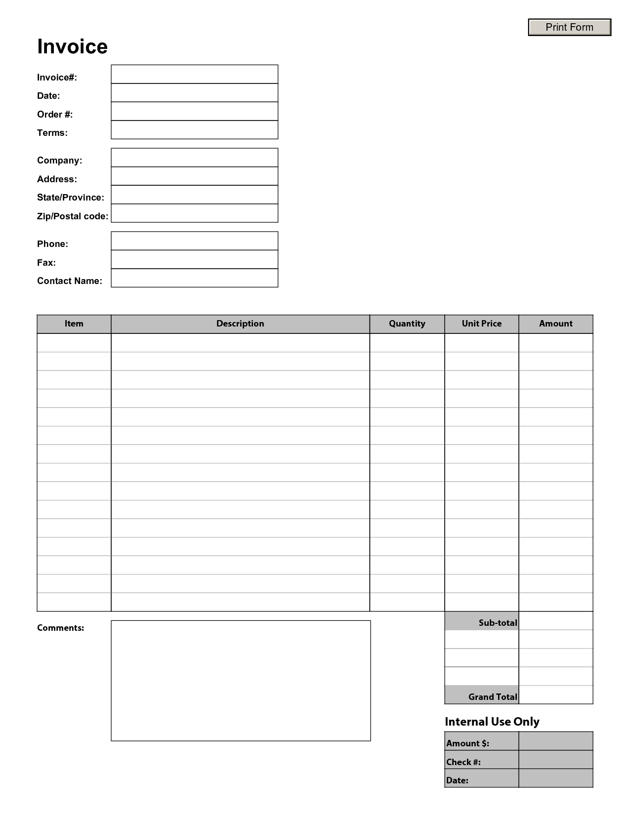 Fillable Invoice Template Pdf and Printable Invoice Template Invoice Example