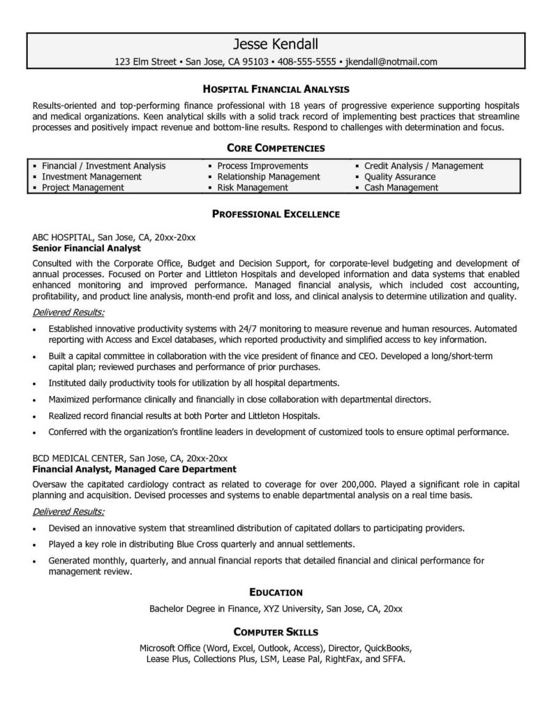 Financial Analysis Report Samples and Resume Template for Financial Analyst Resume for Your Job