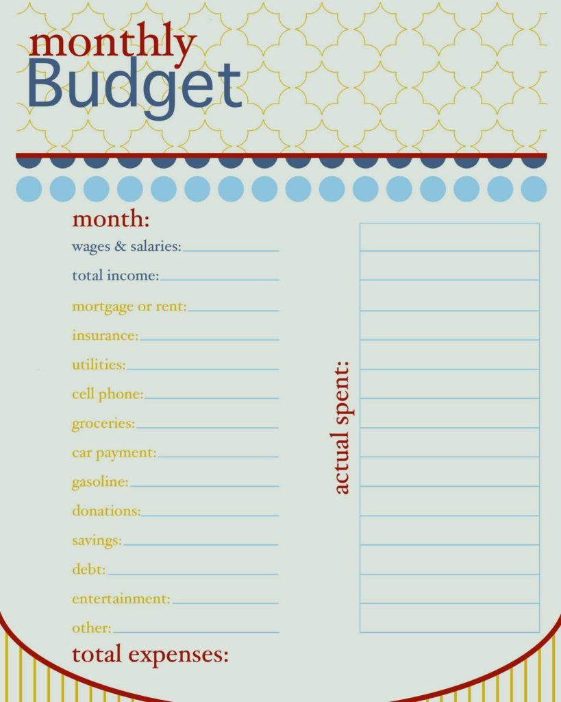 Financial Budget Worksheet and How to Live On A Bud Monthly Bud Free Printable and Bullet