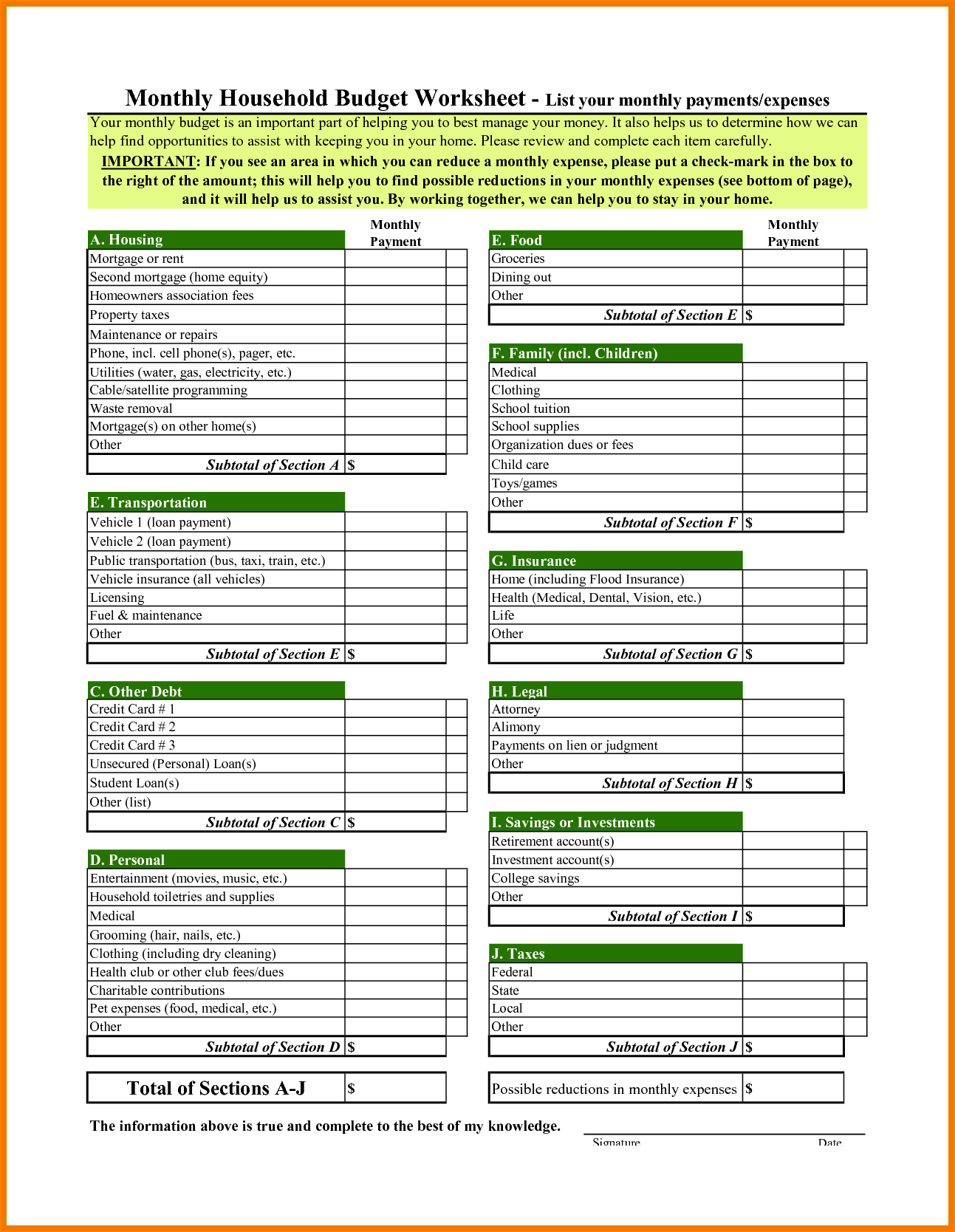 Financial Worksheet Template and 12 Household Bud Worksheet Bibliography format