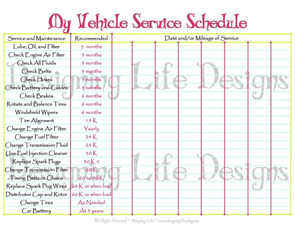 fleet maintenance spreadsheet