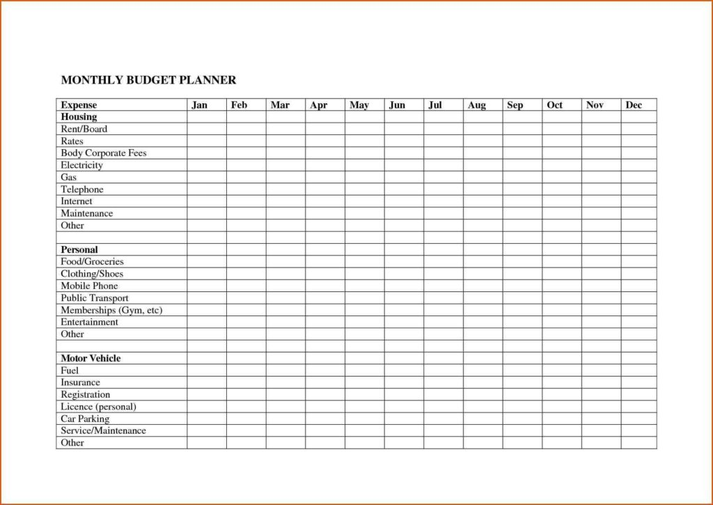 Food Bill Template and 12 Monthly Bill Template Bud forms Word Payment Worksheet 3