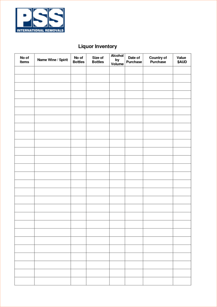 Free Bar Inventory Spreadsheet and 5 Liquor Inventory Spreadsheet Procedure Template Sample