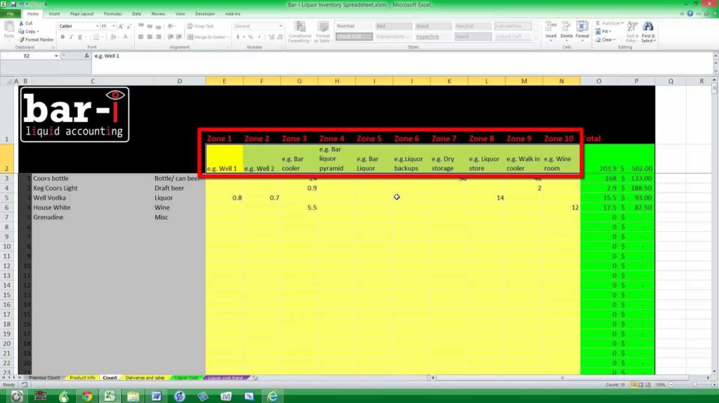 Free Bar Inventory Spreadsheet and Bar I Free Liquor Inventory Spreadsheet Instructions Youtube