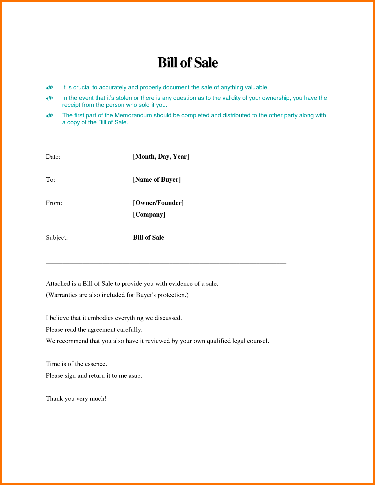 Free Business Bill Of Sale Template and Bill Of Sale Template Word Example Masir