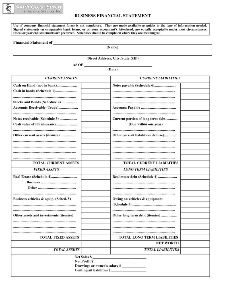 Free Business Financial Statement Template and Doc Doc Free Business Financial Statement