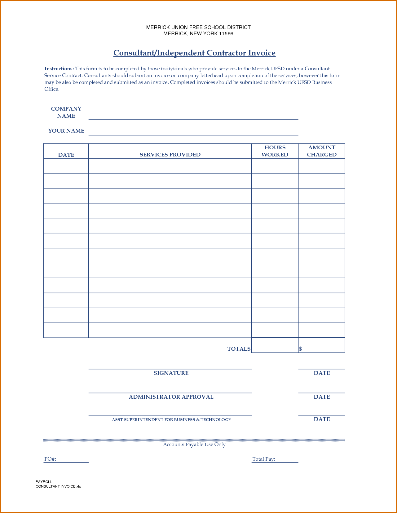Free Contractor Invoice Template Word and 10 Independent Contractor Invoice Template Authorizationletters