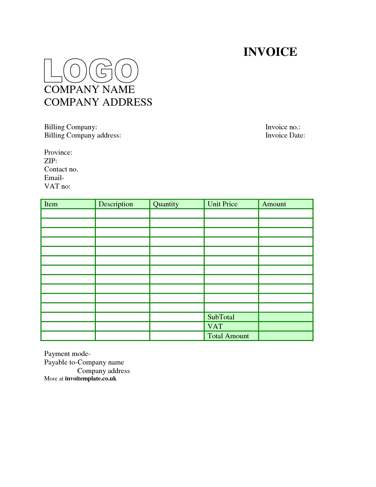 Free Downloadable Invoice Template Word and Uk Vat Invoice Template Word Firmsinjafo