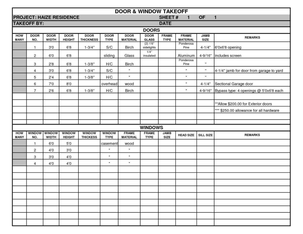 Free Excel Construction Schedule Template and and Window Takeoff Sheet